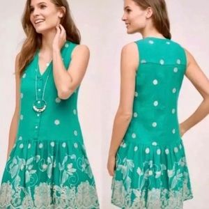 Anthropologie Maeve Floral Embroidered Dress